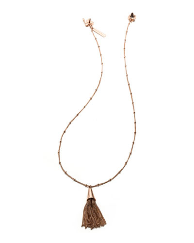 Eddie Borgo Small Rose Gold-Plated Chain Tassel Pendant Necklace
