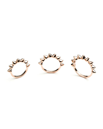 Eddie Borgo Rose Gold Plated Eternity Cone Ring, Set of 3