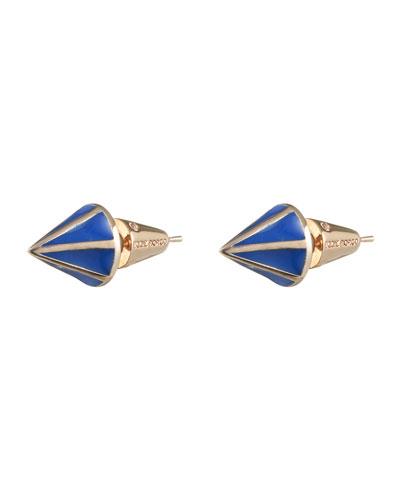 Eddie Borgo Rose Gold Plated Lotus Cone Stud Earrings, Blue