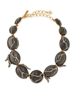 Oscar de la Renta Gray Resin Necklace with Crystals