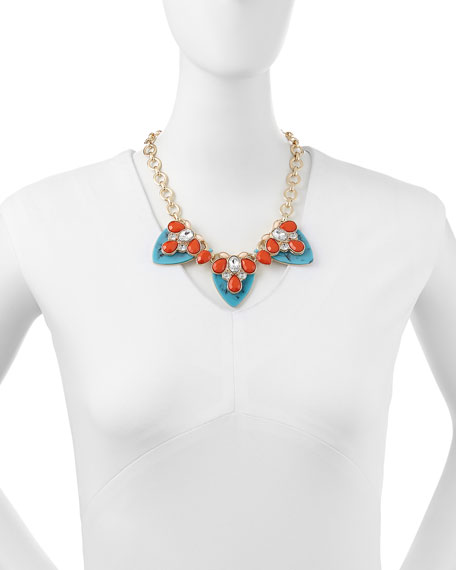 By The Reef Tiered Resin Statement Necklace, Turquoise