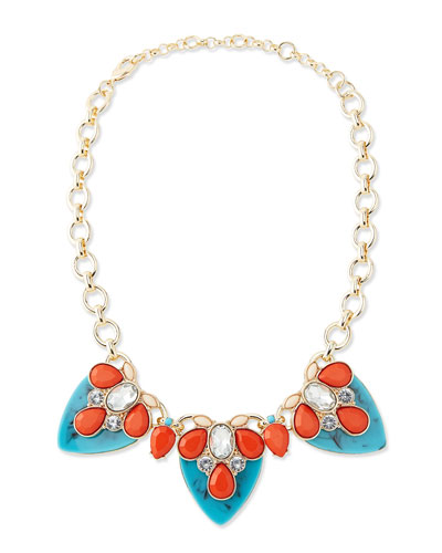Lee Angel By The Reef Tiered Resin Statement Necklace, Turquoise