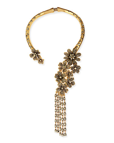 Oscar de la Renta Metallic Floral Collar Necklace