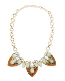 Lee Angel Tiered Resin Statement Necklace, Brown
