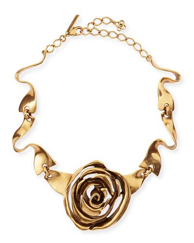Oscar de la Renta Golden Rose Necklace