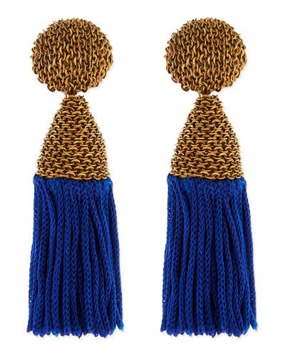 Oscar de la Renta Blue Silk Tassel Earrings