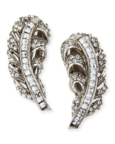 Oscar de la Renta Pave Crystal Feather Clip-On Earrings
