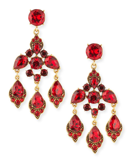 Cardinal Red Crystal Chandelier Clip-On Earrings