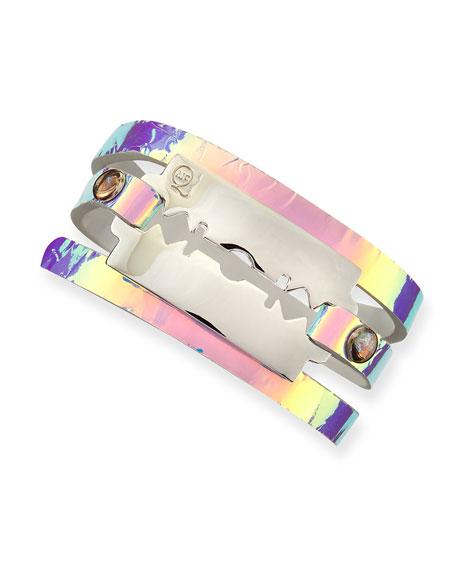 Hologram Leather Razor-Blade Wrap Bracelet, Laser
