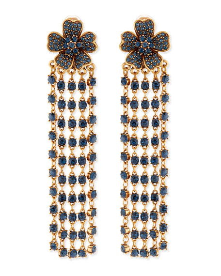 Flower Drop Earrings with Crystal Fringe, Navy