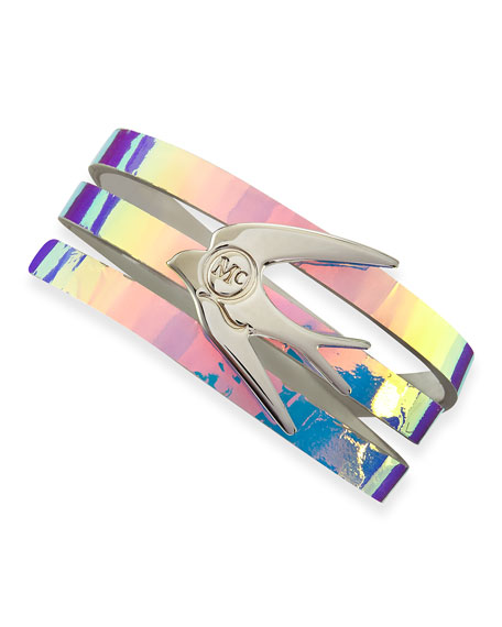 Swallow Hologram Leather Wrap Bracelet, Laser