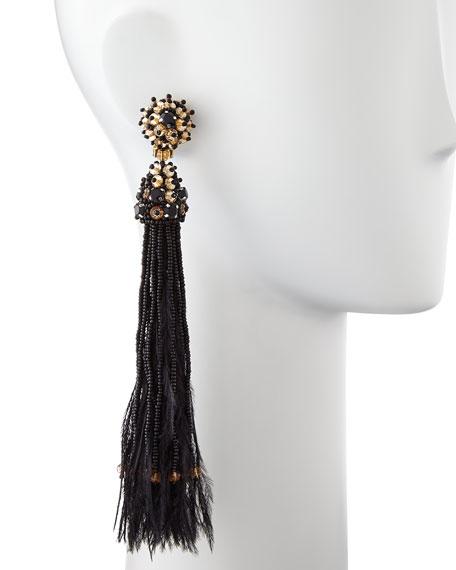 Black Bead & Feather Tassel Earrings