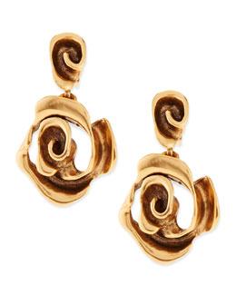 Oscar de la Renta Golden Rose Drop Earrings