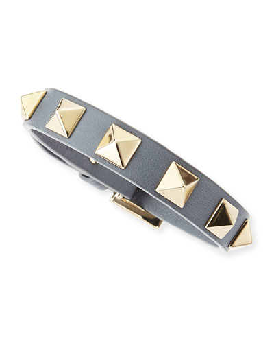 Valentino Small Rockstud Leather Bracelet, Gray
