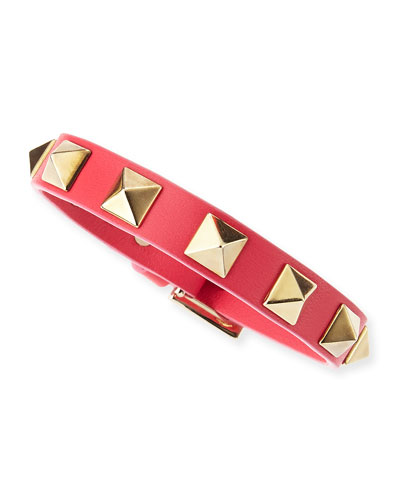 Valentino Small Rockstud Leather Bracelet, Pink