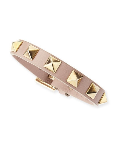 Small Rockstud Leather Bracelet, Taupe