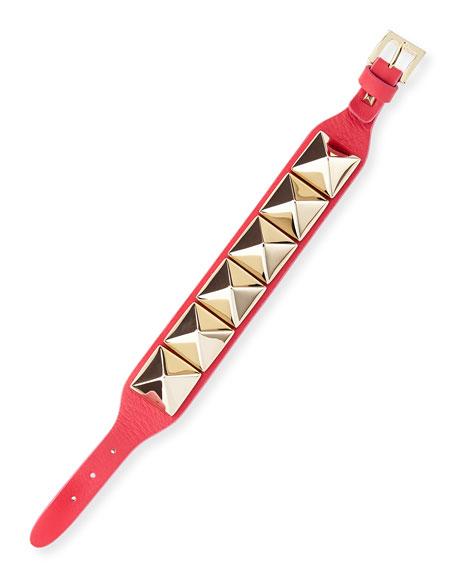 Medium Rockstud Leather Bracelet, Blush