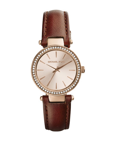 Michael Kors  Mini Tan Leather Darci Three-Hand Glitz Watch