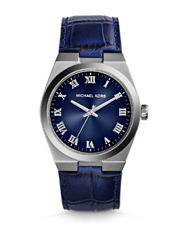 Michael Kors  Mid-Size Blue Leather Channing Three-Hand Watch