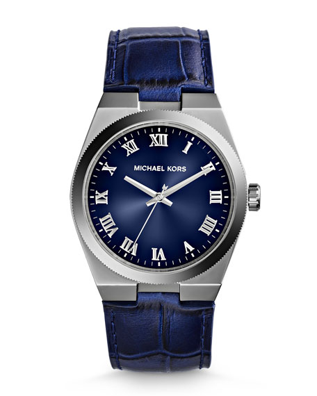 Mid-Size Blue Leather Channing Three-Hand Watch