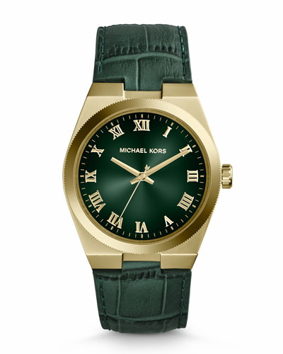 Michael Kors  Mid-Size Green Leather Channing Three-Hand Watch