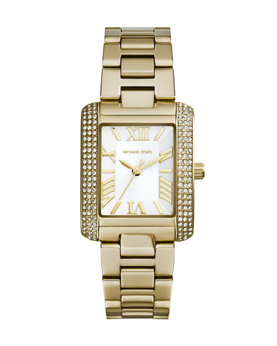 Michael Kors  Petite Golden Stainless Steel Emery Three-Hand Glitz Watch
