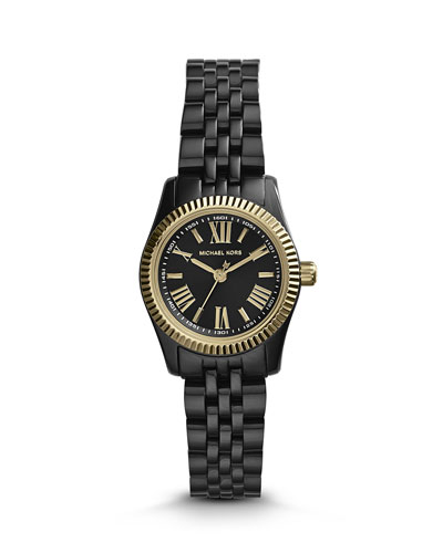 Michael Kors  Petite Black Stainless Steel Lexington Three-Hand Watch