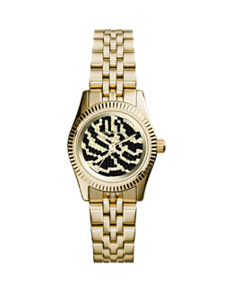 Michael Kors  Petite Golden Stainless Steel Lexington Three-Hand Glitz Watch