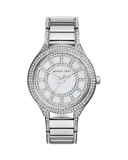 Michael Kors  Mid-Size Silver Color Stainless Steel Kerry Three-Hand Glitz Watch
