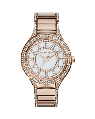 Michael Kors  Mid-Size Rose Golden Stainless Steel Kerry Three-Hand Glitz Watch