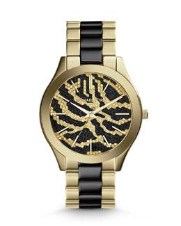 Michael Kors  Mid-Size Golden Stainless Steel Runway Three-Hand Glitz Watch
