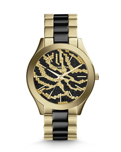 Michael Kors  Mid-Size Golden Stainless Steel Runway Three-Hand Glitz Watch