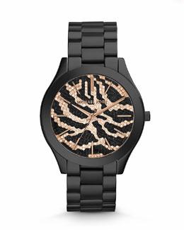 Michael Kors  Mid-Size Black Stainless Steel Runway Three-Hand Glitz Watch