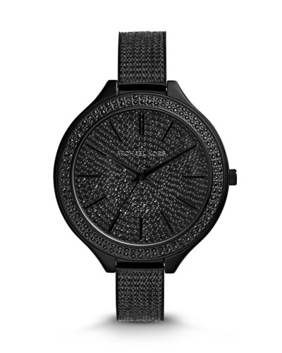 Michael Kors  Black Stainless Steel Slim Runway Three-Hand Glitz Watch