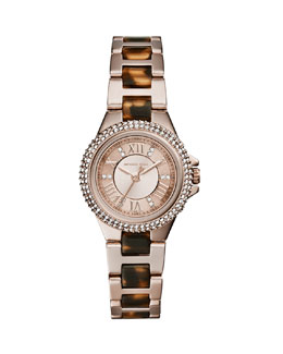 Michael Kors  Petite Rose Golden Stainless Steel Three-Hand Glitz Watch