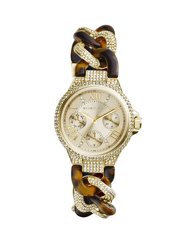 Michael Kors  Mini Golden Stainless Steel Twisted Camille Three-Hand Glitz Watch