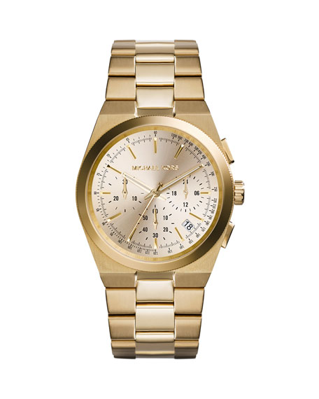 Mid-Size Golden Stainless Steel Channing Chronograph Watch