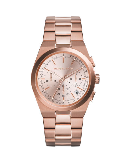 Mid-Size Rose Golden Stainless Steel Channing Chronograph Watch