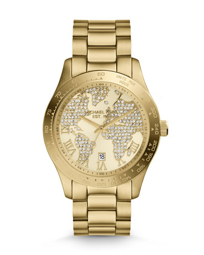 Michael Kors  Mid-Size Golden Stainless Steel Layton Three-Hand Glitz Watch