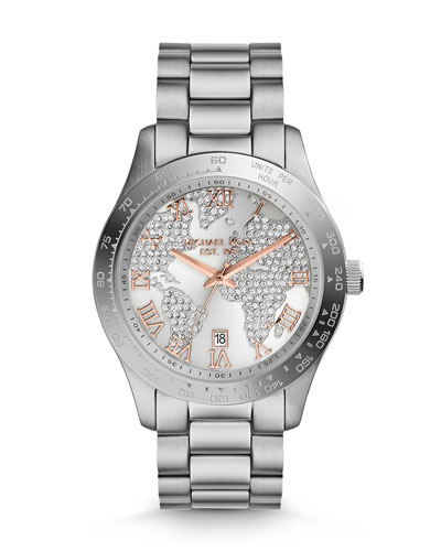 Michael Kors  Mid-Size Silver Color Stainless Steel Layton Glitz Watch