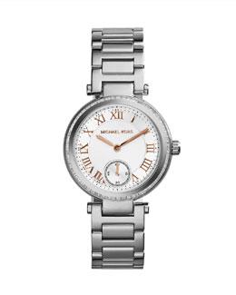 Michael Kors  Mini Silver Color Stainless Steel Skylar Three-Hand Glitz Watch