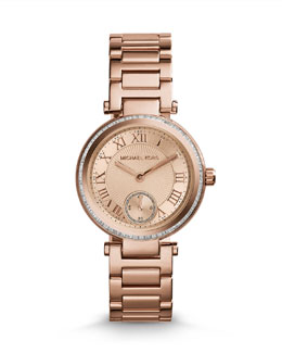 Michael Kors  Mini Rose Golden Stainless Steel Skylar Three-Hand Glitz Watch