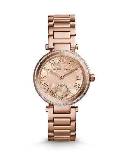 Michael Kors  Mini Rose Golden Stainless Steel Skylar Three-Hand Glitz Watch