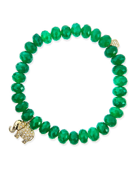 8mm Faceted Green Onyx Beaded Bracelet with 14k Gold/Diamond Small Elephant Charm (Made to Order)