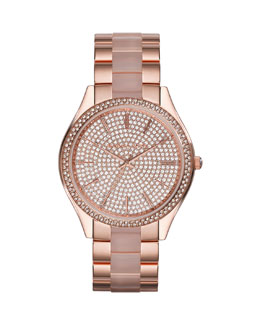 Michael Kors  Mid-Size Rose Golden Stainless Steel Slim Runway Three-Hand Glitz Watch