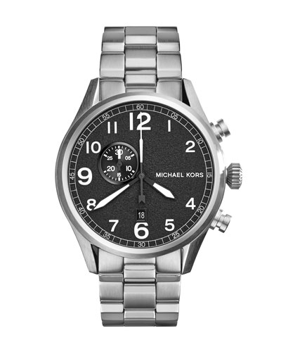 Oversize Silver Color Stainless Steel Hangar Three-Hand Watch