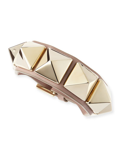 Valentino Medium Rockstud Leather Bracelet, Taupe