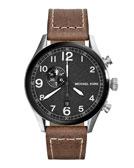 Michael Kors Hangar Three-Hand Watch with Leather Strap
