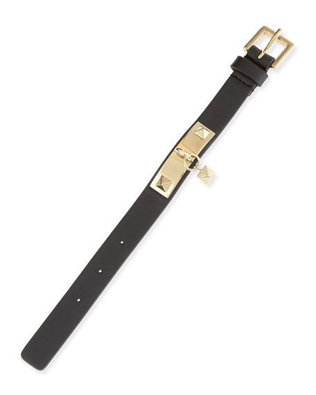 Black Leather Glam Stud Bracelet