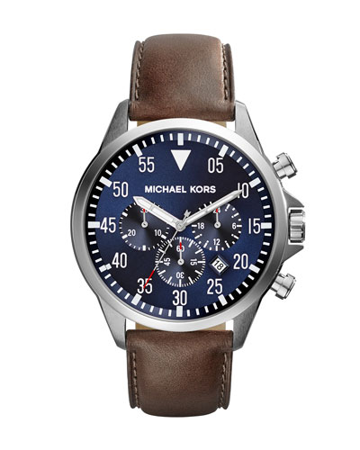 Oversize Tan Leather Gage Chronograph Watch